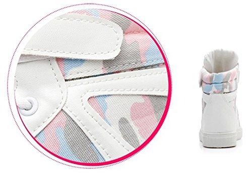 ROSEUNION Damen Klassisch Mitte Keilabsatz Canvas Klettband Mode Turnschuhe Sportschuhe Mädchen Laufschuhe Stiefel Weiß-Schwarz
