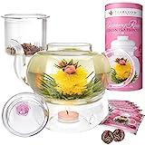tea light teapot - Teabloom Pretty in Pink Rose Tea Gift Set - Includes 34 oz Stovetop Safe Glass Teapot, 12 Rose Flowering Teas, Removable Loose Tea Glass Infuser, Glass Tea Warmer + Tea Light - Dishwasher Safe