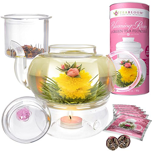 Teabloom Pretty in Pink Rose Tea Gift Set - 34 oz Borosilicate Glass Teapot, 12 Rose Blooming Tea Flowers, Glass Loose Tea Infuser, Teapot Warmer - Thermal Shock Resistant - Stovetop, Microwave Safe