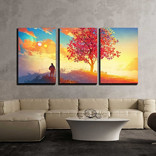 - wall26 - 3 Piece Canvas Wall Art - Autumn Landscape with Alone Tree on Mountain,Coming Home Concept - Modern Home Decor Stretched and Framed Ready to Hang - 24