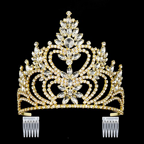 DcZeRong 5'' Tall Large Tiara Adult Women Birthday Pageant Prom Queen Gold Crystal Rhinestone Crown by DcZeRong (Image #5)