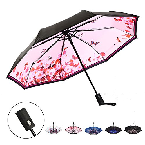 J&B Umbrellas Compact Travel Umbrella Auto Open Close for Women Vinyl Anti-UV Lightweight Pink Butterfly Butterfly Compact