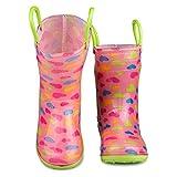 [sbr901-hrt-y11] Chilipop Rainboots For Boys, Girls & Toddlers – Fun Kids Prints, Pull On Handles | amazon.com