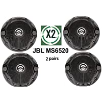 X2 PAIRS JBL MS6520 180 Watt 6.5 2-Way Coaxial Marine BOAT Audio Speakers 6-1/2 COLOR BLACK (Class A factory reconditioned)