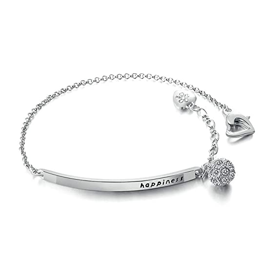 "ORANGELOVE 18K White Gold Plated Happiness Adjustable Chain Cubic Zirconia Bracelet for Women,5.9"" Adjustable to 7.5"""