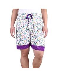 ZERDOCEAN Women's Plus Size Printed Sleep Shorts Pajamas with Lace Trim