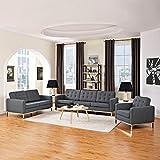 Modern Contemporary Urban Design Living Lounge Room Sofa Set ( Set of Three), Grey Gray, Fabric