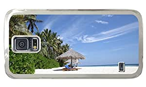 Hipster protective Samsung Galaxy S5 Cases Beach Paradise Maldives PC Transparent for Samsung S5