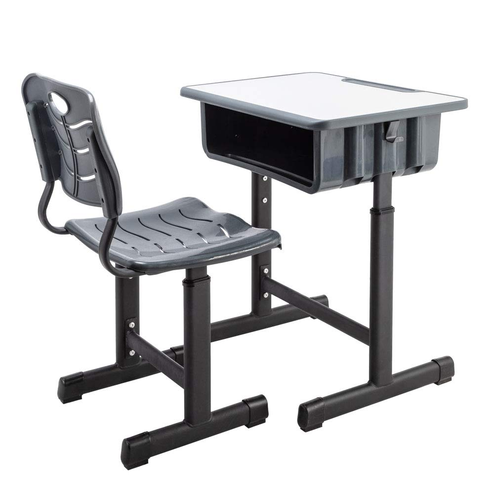 FCH Children's Desk and Chair Set,Height Adjustable Desk and Chair with Hanging Hooks and Pencil Groove by FCH