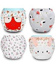 Flyish Paquete de 4 Pantalones de Entrenamiento para bebés Ropa Interior de Entrenamiento para niños pequeños Pantalones de pañales Ropa Interior de Entrenamiento para baños