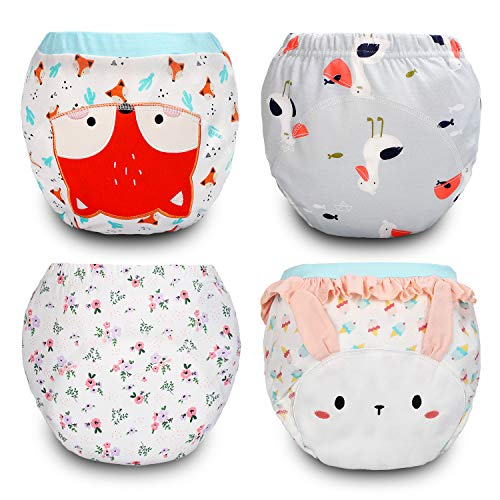 4 Pack Cotton Training Pants Toddler Potty Training Underwear for Baby Girls-2T