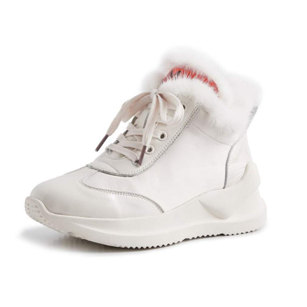 White Womens Ankle Boots Winter Warm Ladies Snow Boot Anti Slip Casual shoes Flat Heel Short Boots Trainers shoes Outdoor Walking shoes (color   White, Size   35)