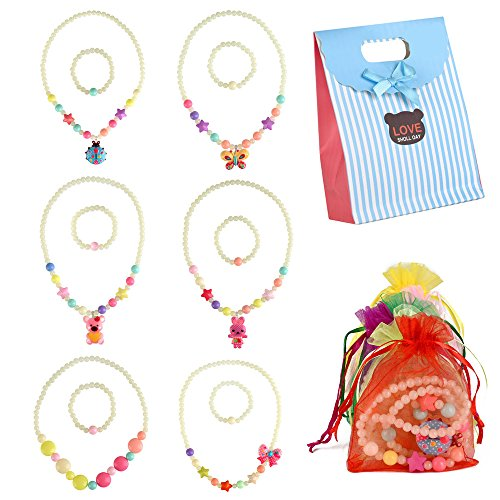 BAOQISHAN Glow In The Dark 6Sets Girls Party Deluxe Girls Party Princess Necklace & Bracelet Jewelry Value Pack + Gift Pouches