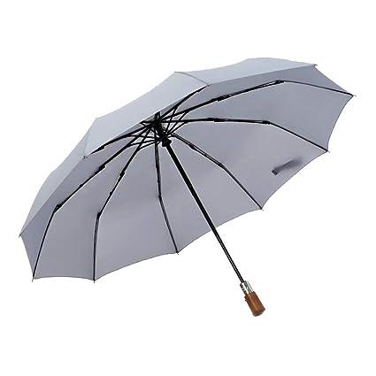 WOJASNS Tri - Fold Automatic Paraguas Paraguas Plegable Paraguas de Madera Retro Caballero,Gray