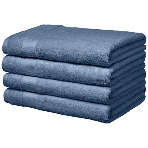 AmazonBasics Everyday Bath Towels – 4-Pack, Cornflower Blue