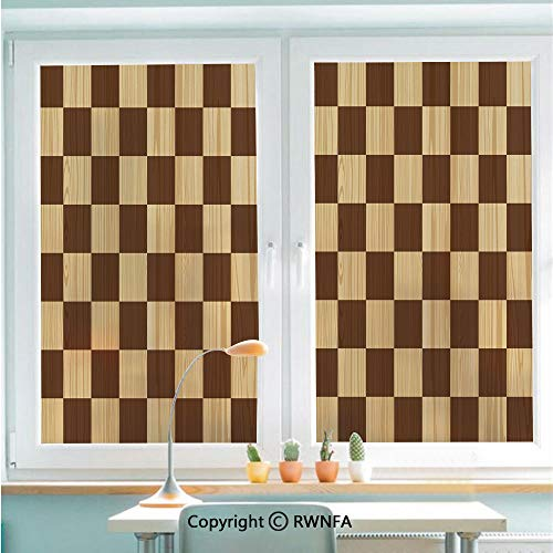 RWNFA Decorative Window Films Kitchen Glass Sticker Empty Checkerboard Wooden Seem Mosaic Texture Image Chess Game Hobby Theme Waterproof Anti-UV for Home and Office 22.8