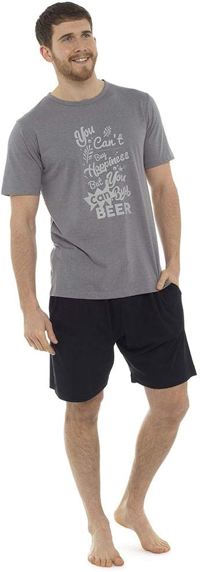 Pijama Corto de algodón para Hombre Tom Franks, Pijama con Logo M-2XL, a Rayas o Camuflaje