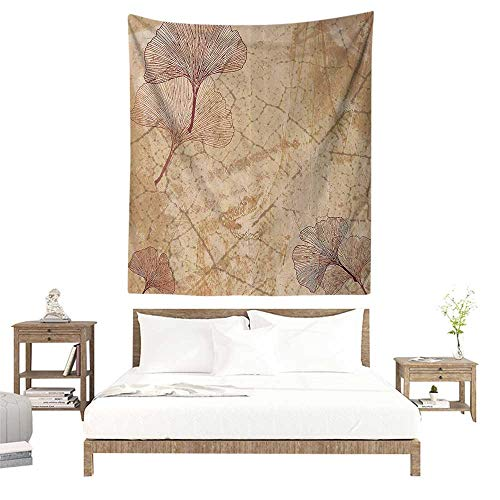 alisoso Wall Tapestries Hippie,Beige Decor,Small Large Ginkgo Leaves Pattern Dramatic Dated Fossil Maidenhair Tree Nature Art Print,Beige Brown W57 x L74 inch Tapestry Wallpaper Home Decor (Fossil Pattern)