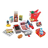 Liberty Imports Supermarket Cash Register and Shopping Cart with Grocery Food Toy Playset for Kids