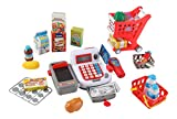 play and learn cash register - [2-in-1] Cash Register and Shopping Cart with Scanner, Microphone, Calculator, Play Money and Food Playset