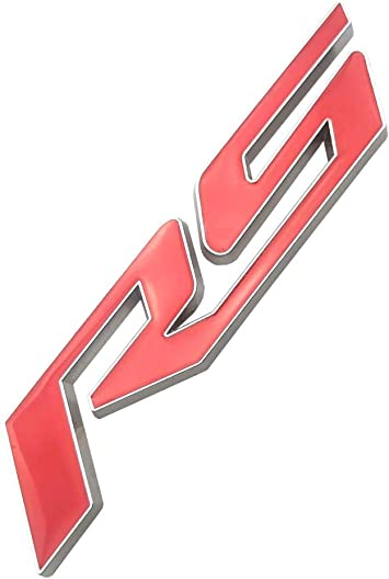 1pc Black Red Grille Rs Emblem Badge 3D Logo Alloy Compatible for Camaro Gm Series