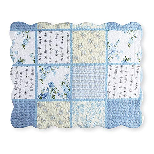 (Collections Etc Willow Blue and Yellow Floral Patchwork Pillow Sham with Checkered and Striped Patterns, Scalloped Edge Detail, Sham)