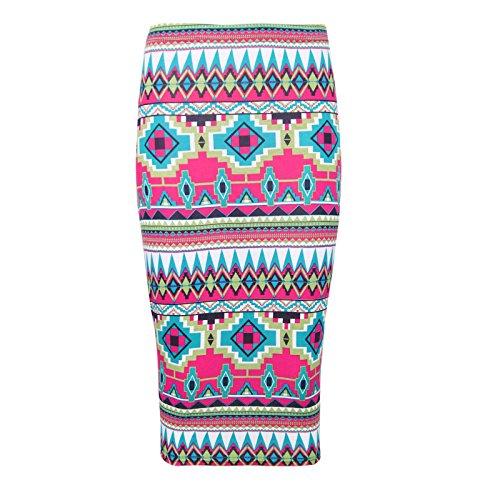 Aztec Impreso Janisramone Menearse Multi Midi Bodycon Lápiz Elástico Falda Mujer 6fwZ7