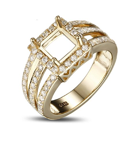 6mm Princess Cut Mount - GOWE 6x6mm Princess Cut Pave Set Diamond 14k Yellow Gold Engagement Semi Mount Ring
