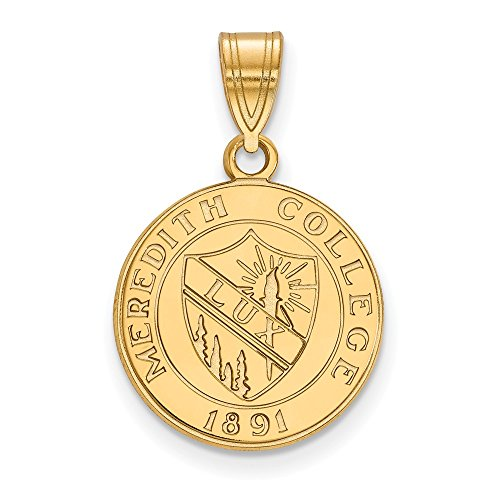 Solid 925 Sterling Silver with Gold-Toned Meredith College Medium Crest Pendant (15mm x 24mm) (Silver Pendant Sterling Crest Solid)