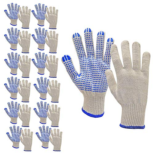 Morton Home PVC-Dotted String Knit Gloves, Natural White (Pair of 12, Blue)