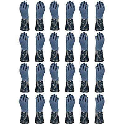 Atlas 720 Dipped-Nitrile Blue Chemical Resistant Large Work Gloves, 12-Pairs