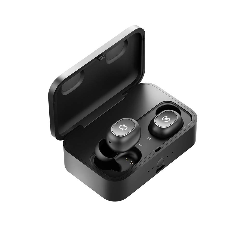 SoundPEATS True Wireless Earbuds Bluetooth 5.0 Headphones in-Ear Stereo Wireless Earphones with Microphone Binaural Calls, One-Step Pairing, 55 Hours Playtime-Upgraded