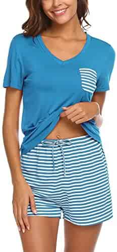 47fe7595ff6 Hotouch Womens Pajama Set Striped Short Sleeve Sleepwear Pjs Sets
