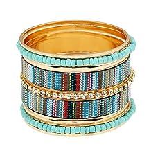 Mrsrui Vintage Bohemian Multilayer Mix Color Wrap Bracelet Crystal Handmade Woven Bangle