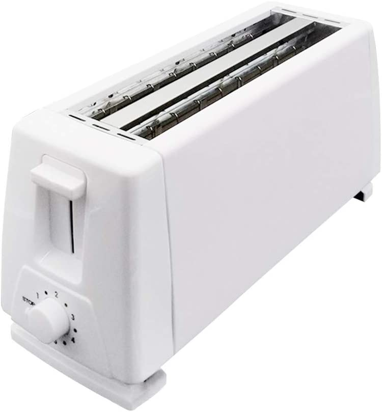 LENXH 4 Slice Long Slot Toaster Prime Rated, Large Capacity Automatic Toaster Home Breakfast Toasters – White