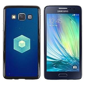 // PHONE CASE GIFT // Duro Estuche protector PC Cáscara Plástico Carcasa Funda Hard Protective Case for Samsung Galaxy A3 / Cubo Azul /