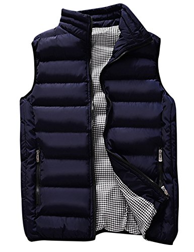 (Uaneo Men's Thicken Classic Sleeveless Stand Collar Solid Color Side Pockets Quilted Puffer Down Vest Outwear (Large, Navy))