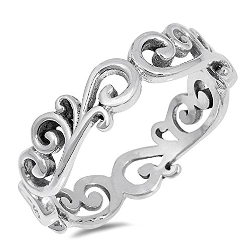 Eternity Filigree Swirl Cutout Ring New .925 Sterling Silver Band Size 7