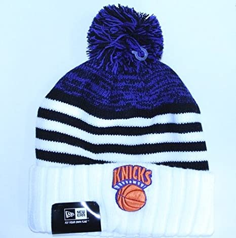 57814ec30419d9 Men's New Era Cap New York Knicks Winter Hat Snowfall Stripe (Orange Blue  White,