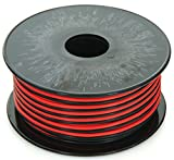 GS Power's 18 Gauge (True American Wire Ga), 100 feet, 99.9% stranded oxygen free copper OFC, Red/Black 2 Conductor Bonded Zip Cord Power/Speaker Electrical Cable for Car, Audio, Home Theater