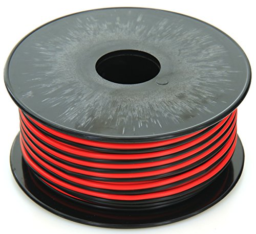 GS Powers 18 Gauge (True American Wire Ga), 100 feet, 99.9% stranded oxygen free copper OFC, Red/Black 2 Conductor Bonded Zip Cord Power/Speaker Electrical Cable for Car, Audio, Home Theater