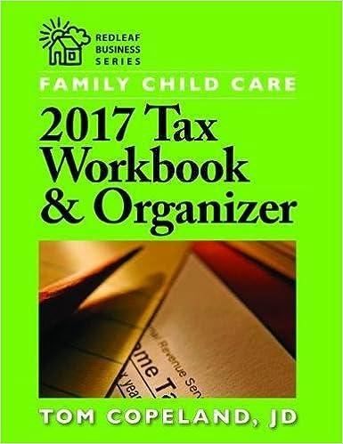 Family Child Care 2017 Tax Workbook Organizer Redleaf Business