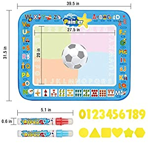 Keeswin Water Magic Mat Early Educational Aqua Drawing/Painting Doodle Pad with 2 Stencil Board Set and 2 Magic Pen for Kids, Girls, Boys, Soccer/ Football Mode, Large Size 39.5 X 31.5 Inch