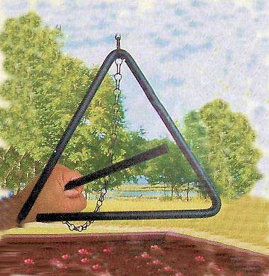 Dist By Classyjacs - (All New Design) - Heavy Tempered Steel - Triangle Chuck Wagon - Dinner Bell - Hung By A Chain - (Black Powder - Coated Finish -Outdoor or Indoor Use) pri
