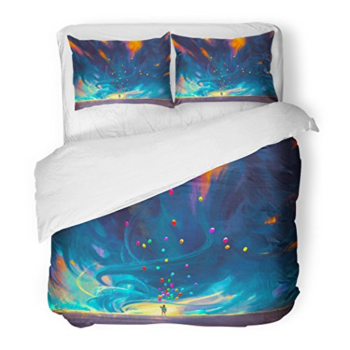 SanChic Duvet Cover Set Watercolor Adventure Child Holding Balloons Standing in Front Fantasy Storm Painting Blue Abstract Decorative Bedding Set Pillow Sham Twin Size ()