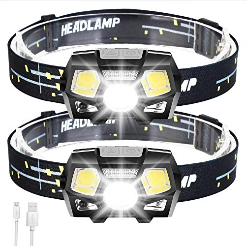 2Packs LED Headlamp Rechargeable USB Flashlights