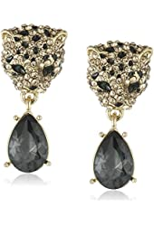 "Betsey Johnson ""Keeping Up with The Critters"" Pave Leopard and Faceted Stone Drop Earrings"