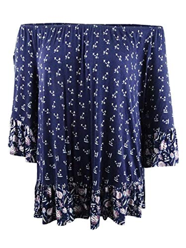 (Style & Co. Womens Plus Floral Print Bell Sleeves Pullover Top Navy 2X)