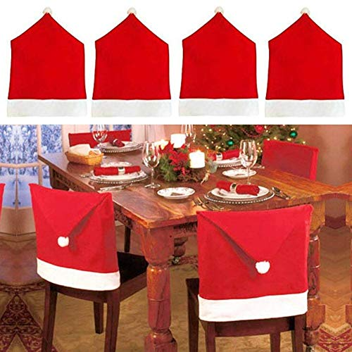 TUANSHENG Christmas Decorations Santa Hat Chair Covers Red and White, Set of 4