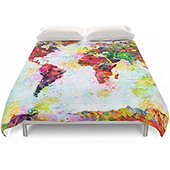 society6 abstract world splatter map duvet covers queen 88